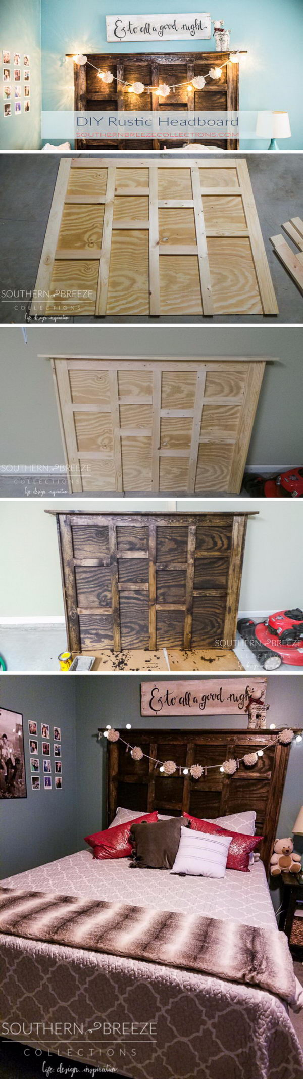 DIY Rustic Headboard Using Plywood.