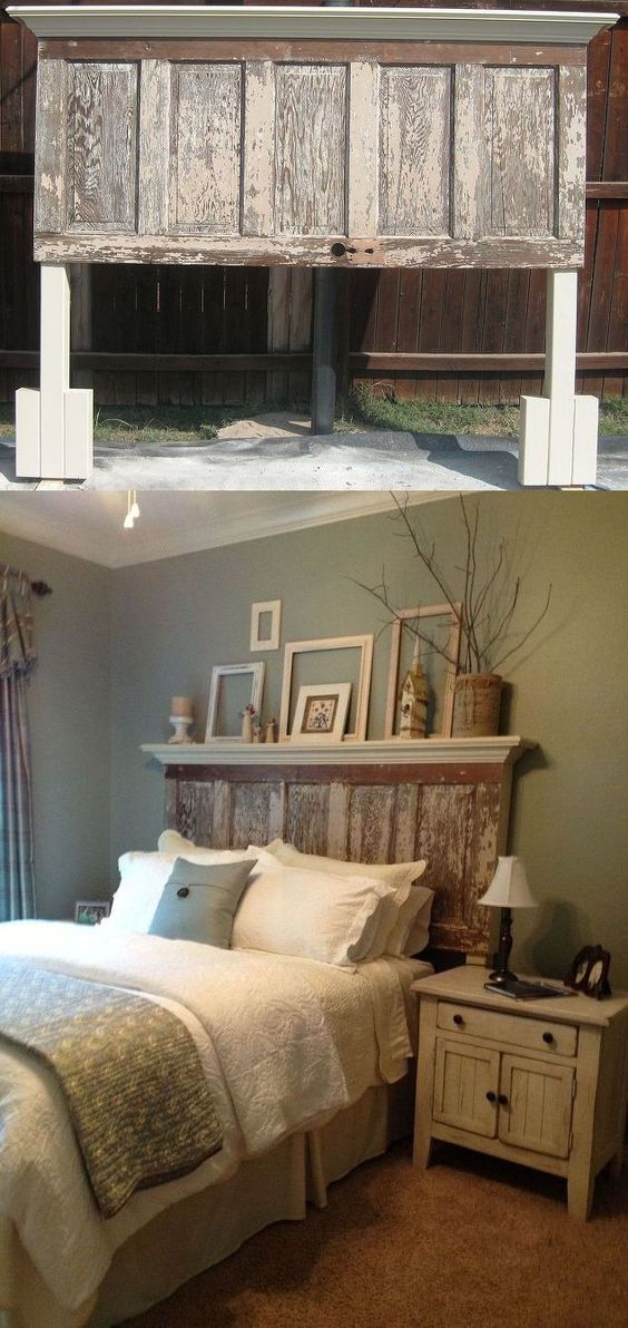 DIY Old Door Turned Headboard.