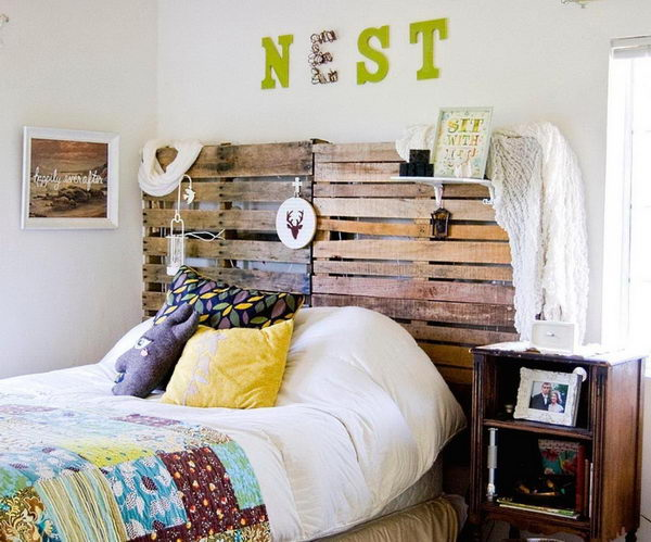 Rustic Wood Pallet Headboard.