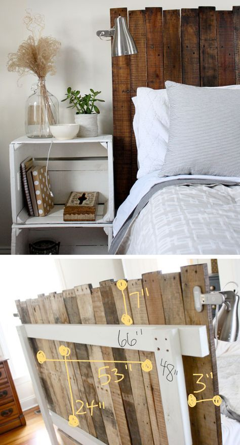 DIY Stained Pallet Headboard.