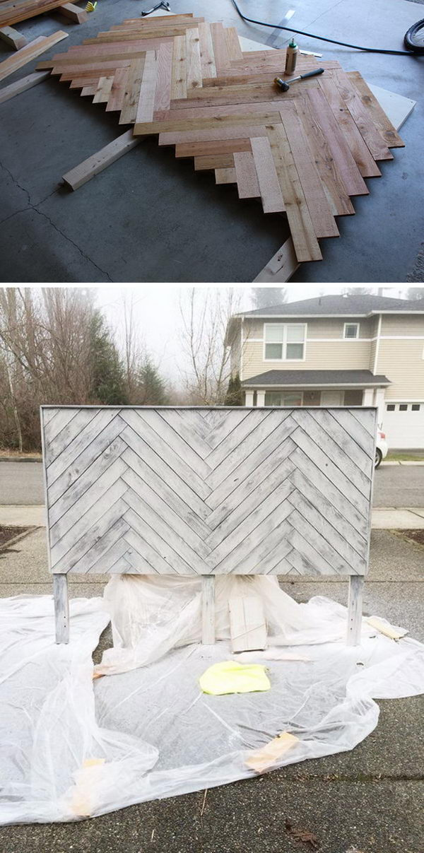 DIY Herringbone Headboard.