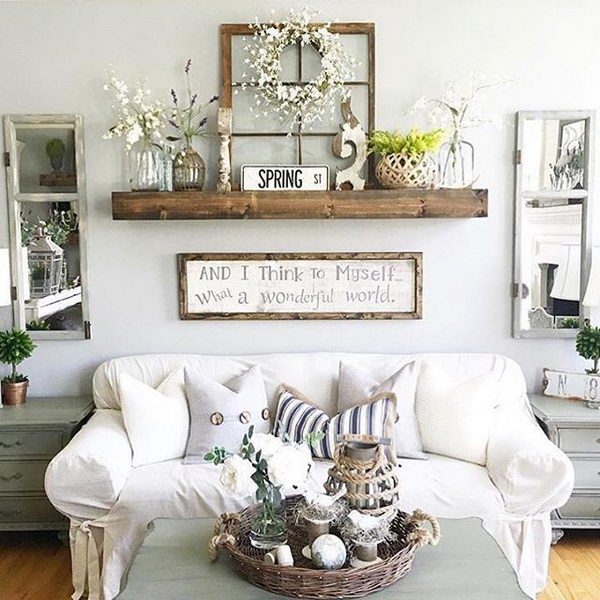 Reclaimed Window Frames Displaying on the Floating Shelf.