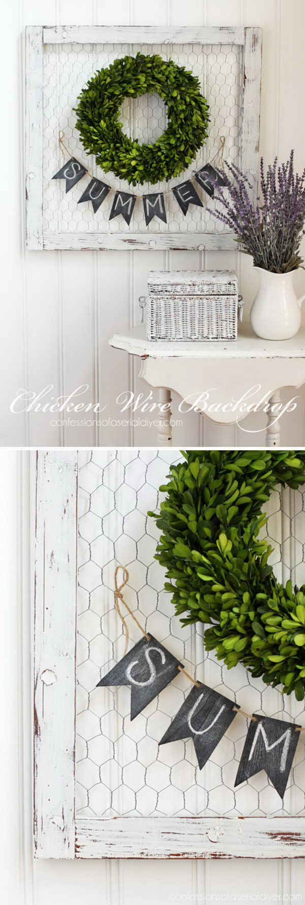 A Frame of Chicken Wire Makes a Perfect Backdrop for a Wreath.