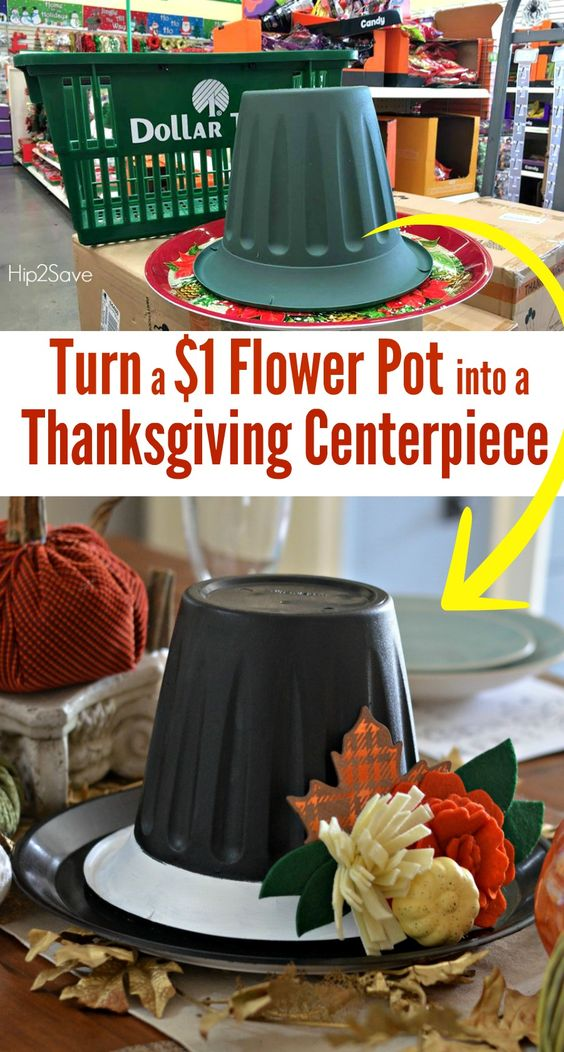 Diy Thanksgiving Decorations Part - 42: Dollar Store Thanksgiving Hat Centerpiece