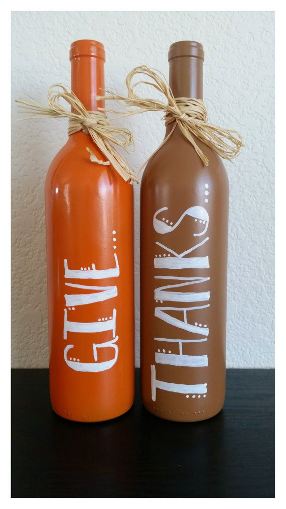 Painted Wine Bottles Fall Decoration.