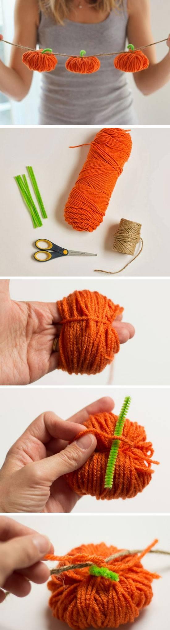 Yarn Pumpkins Garland.