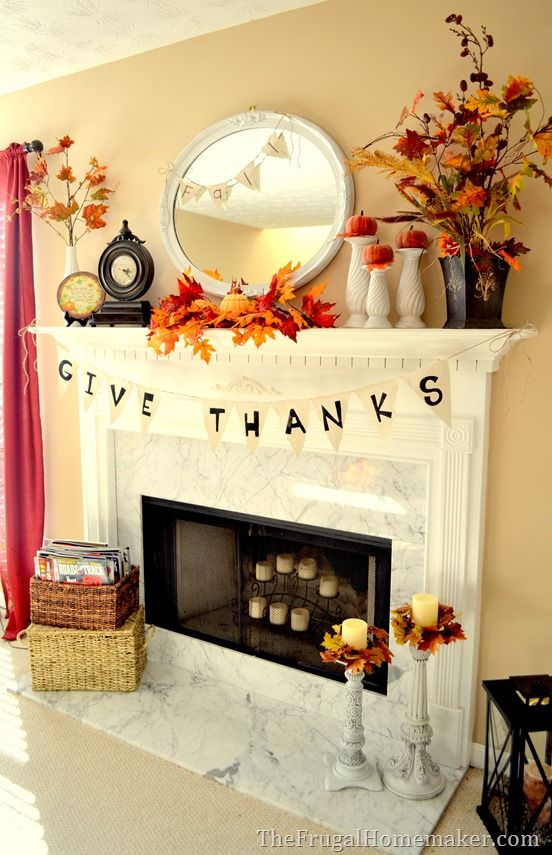 Fall Mantel Decorated With Reclaimed Pallet Wood.
