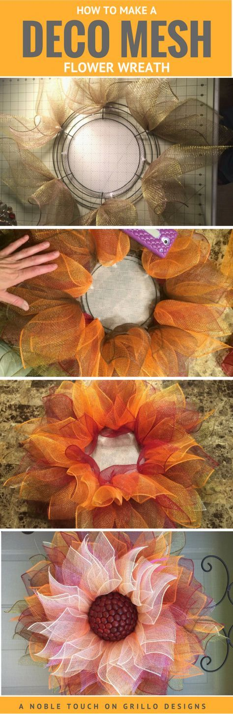Deco Mesh Flower Wreath Perfect For Fall.