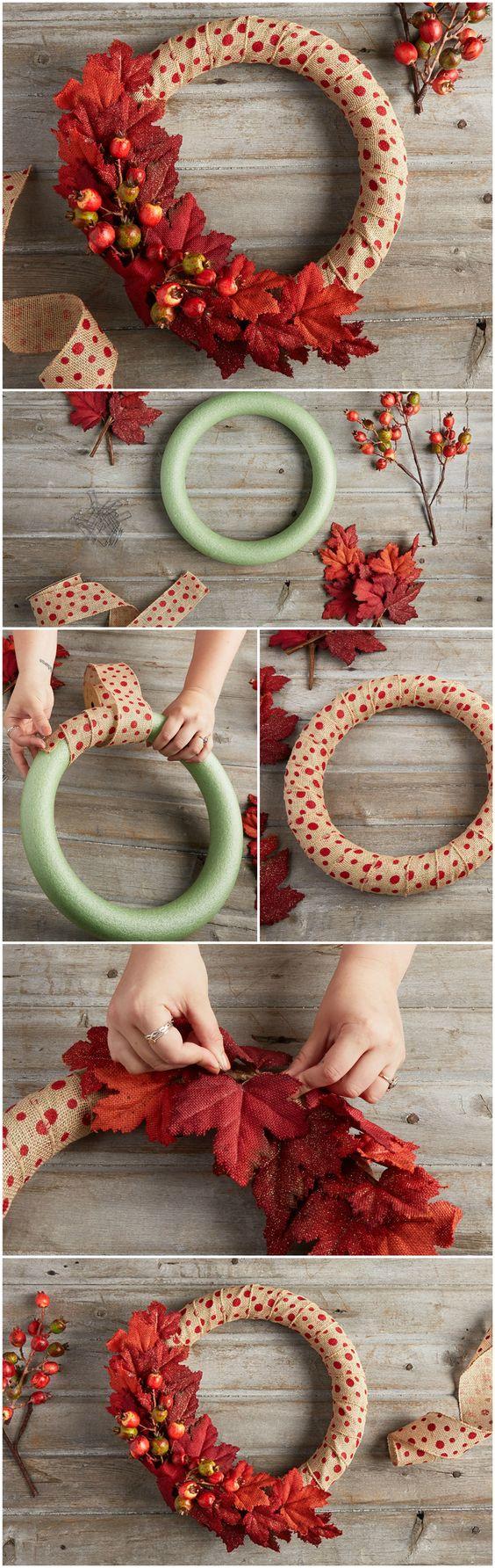 DIY Polka Dot Fall Wreath.