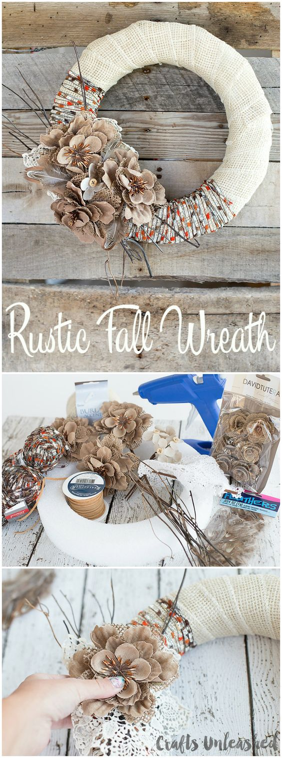 Rustic Burlap & Yarn Fall Wreath.