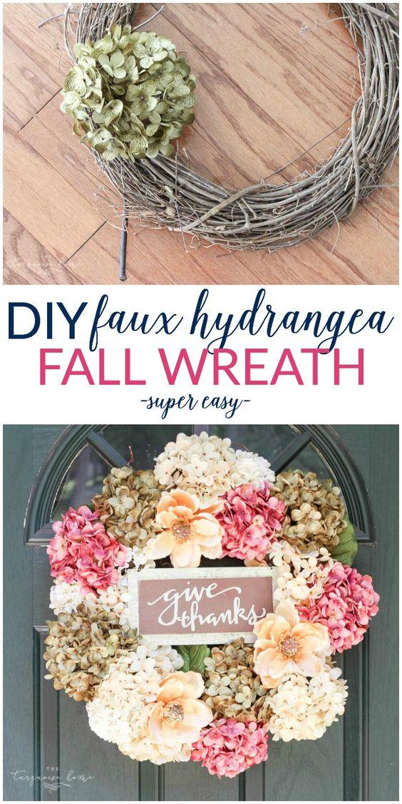 DIY Faux Hydrangea Fall Wreath.