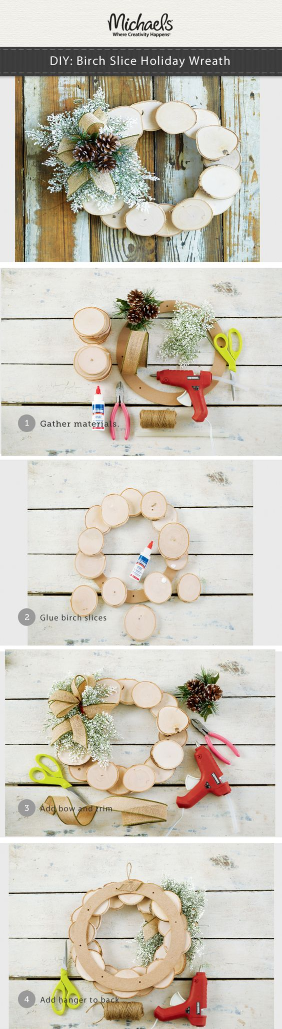 DIY Birch Slice Holiday Wreath.