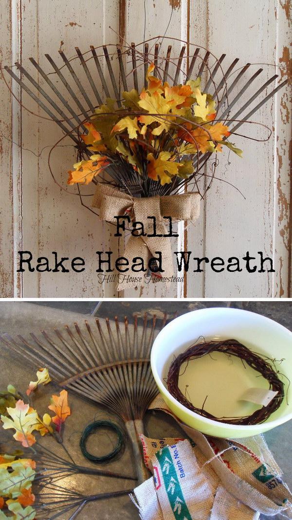 DIY Rake Fall Wreath.
