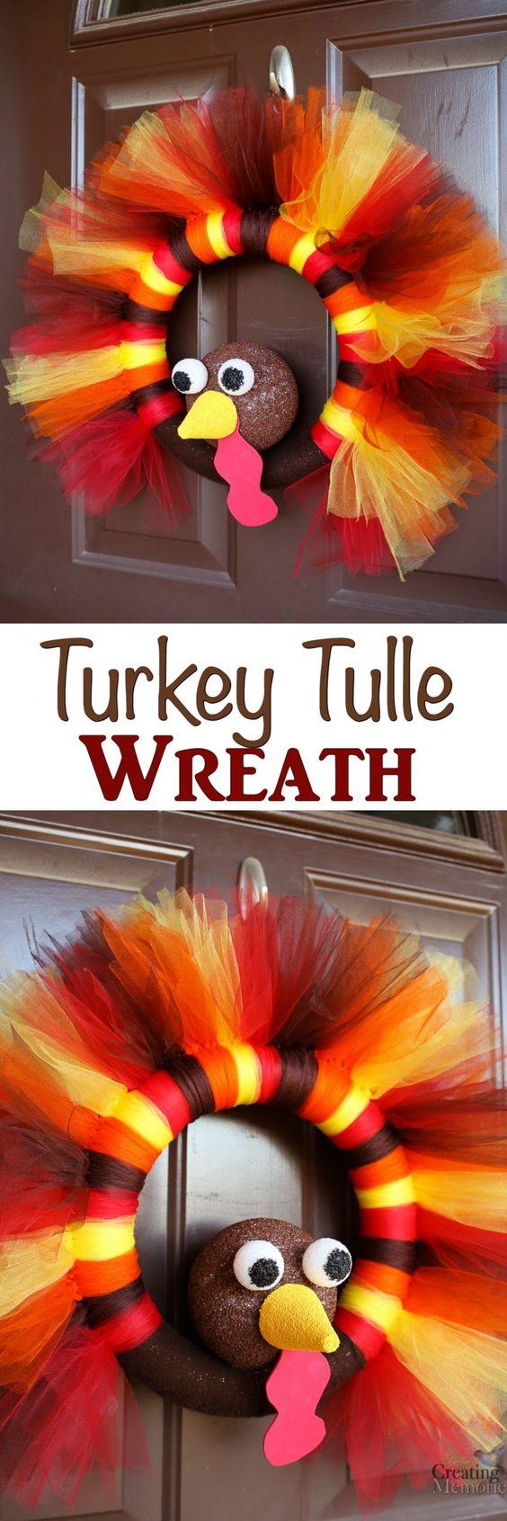 DIY Turkey Tulle Wreath.