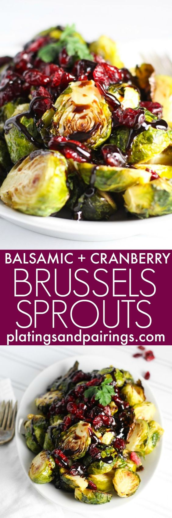 Roasted Brussels Sprouts with Cranberries and Balsamic Reduction.