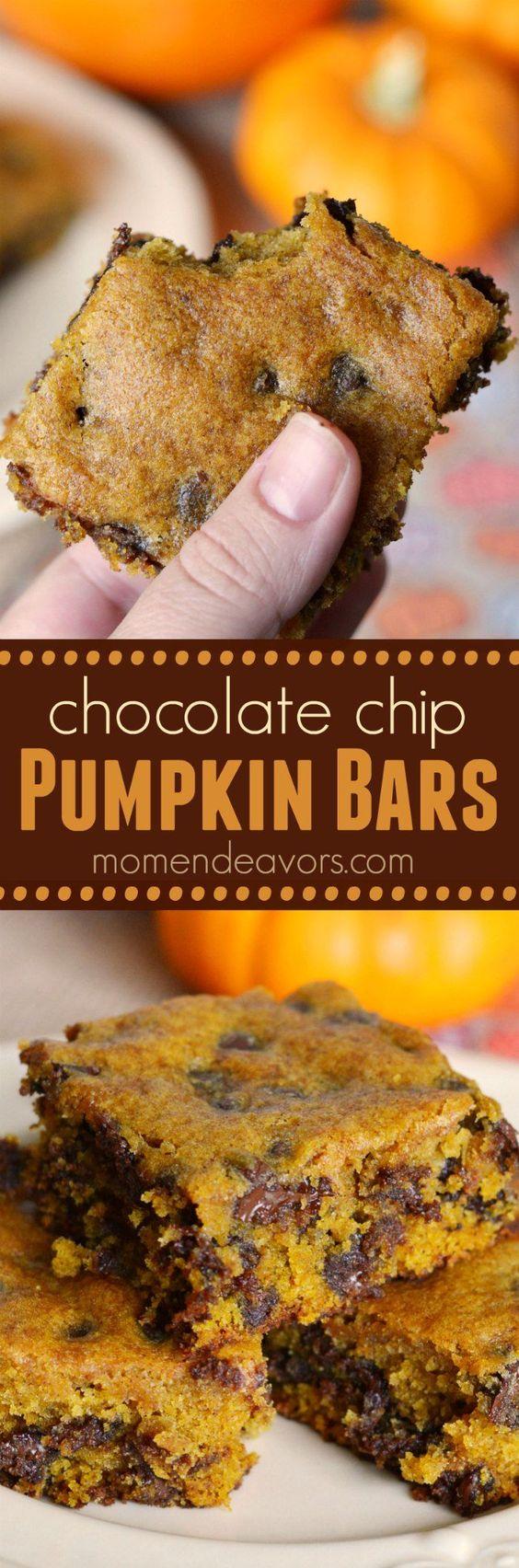 Delicious Pumpkin Chocolate Chip Bars.