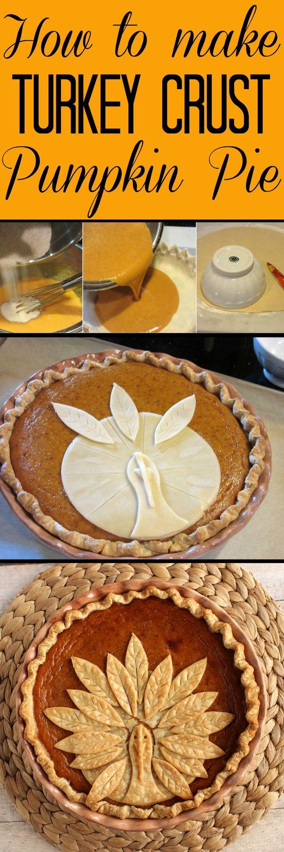 Adorable Turkey Crust Pumpkin Pie.