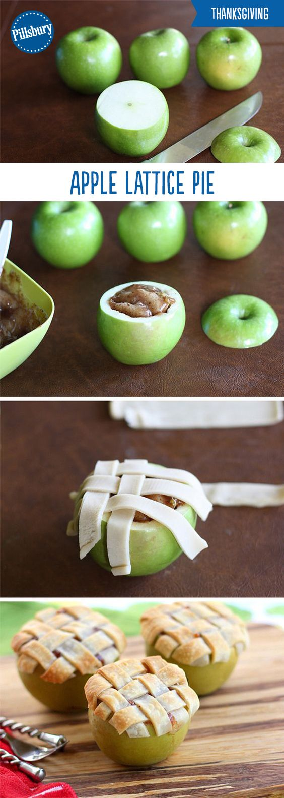 Apple Lattice Pie Baked in an Apple.