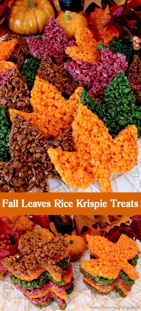 Fall Leaves Rice Krispie Treats.
