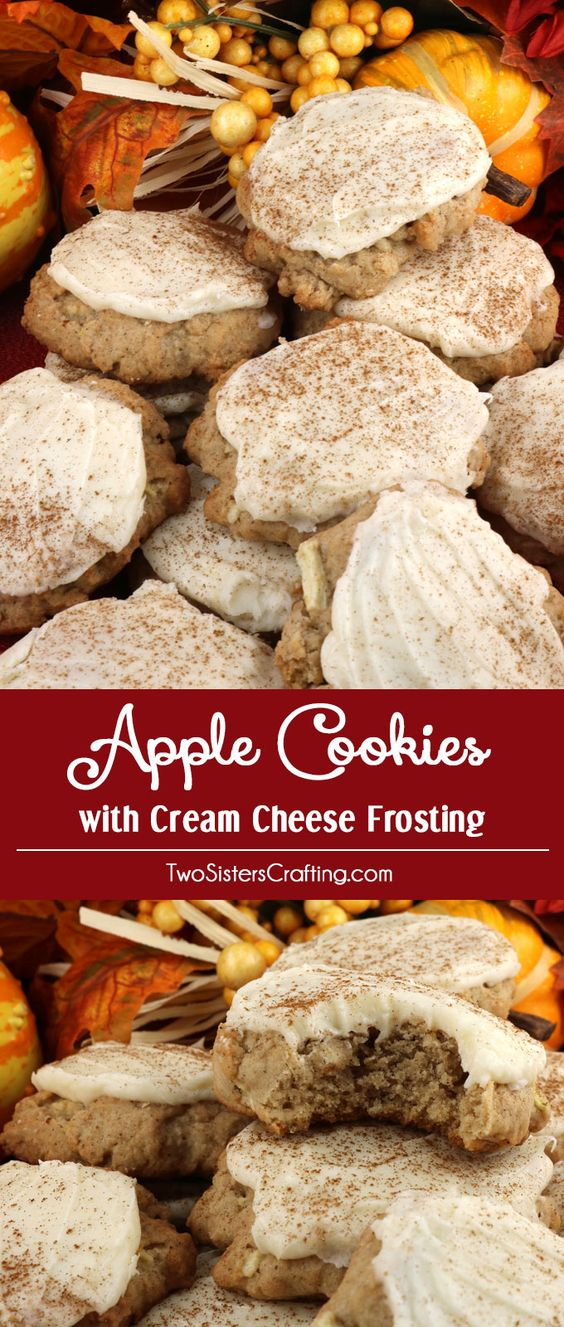 Apple Cookies With Cream Cheese Frosting.