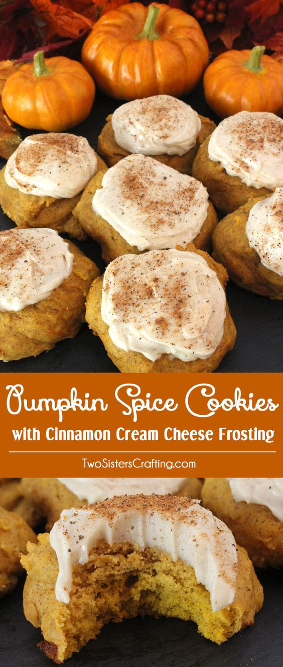 Pumpkin Spice Cookies with Cinnamon Cream Cheese Frosting.