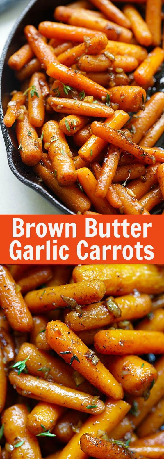 Brown Butter Garlic Honey Roasted Carrots.