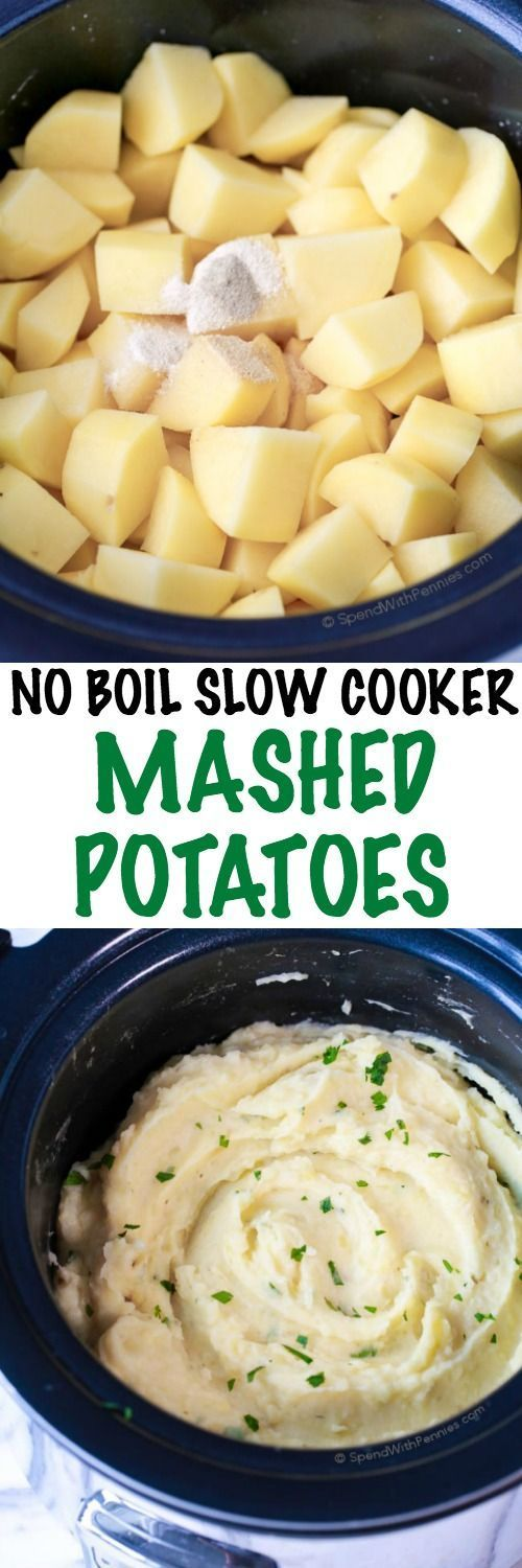 No Boil Slow Cooker Mashed Potatoes.
