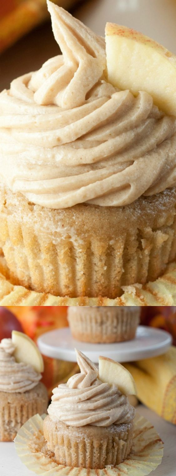 Apple Cider Cupcakes with Brown Sugar Cinnamon Buttercream.