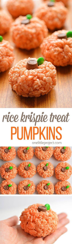 Rice Krispie Treat Pumpkins.