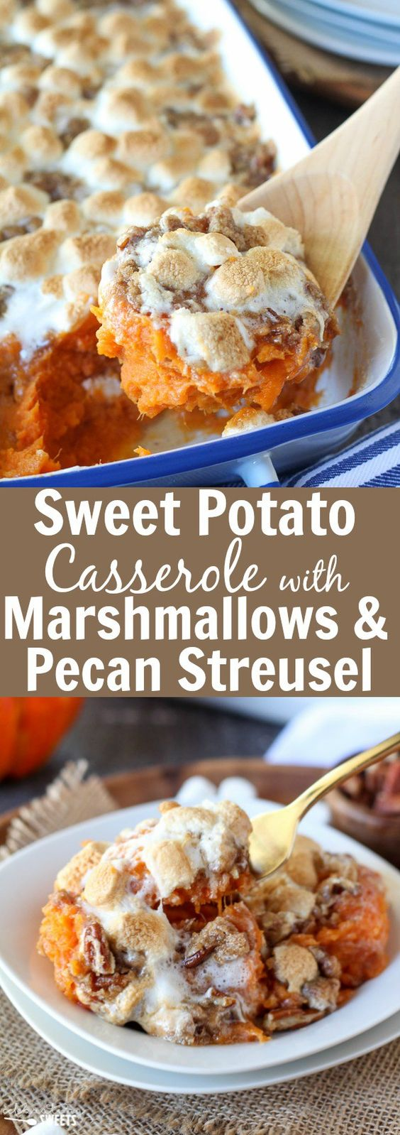Sweet Potato Casserole with Marshmallows and Streusel.