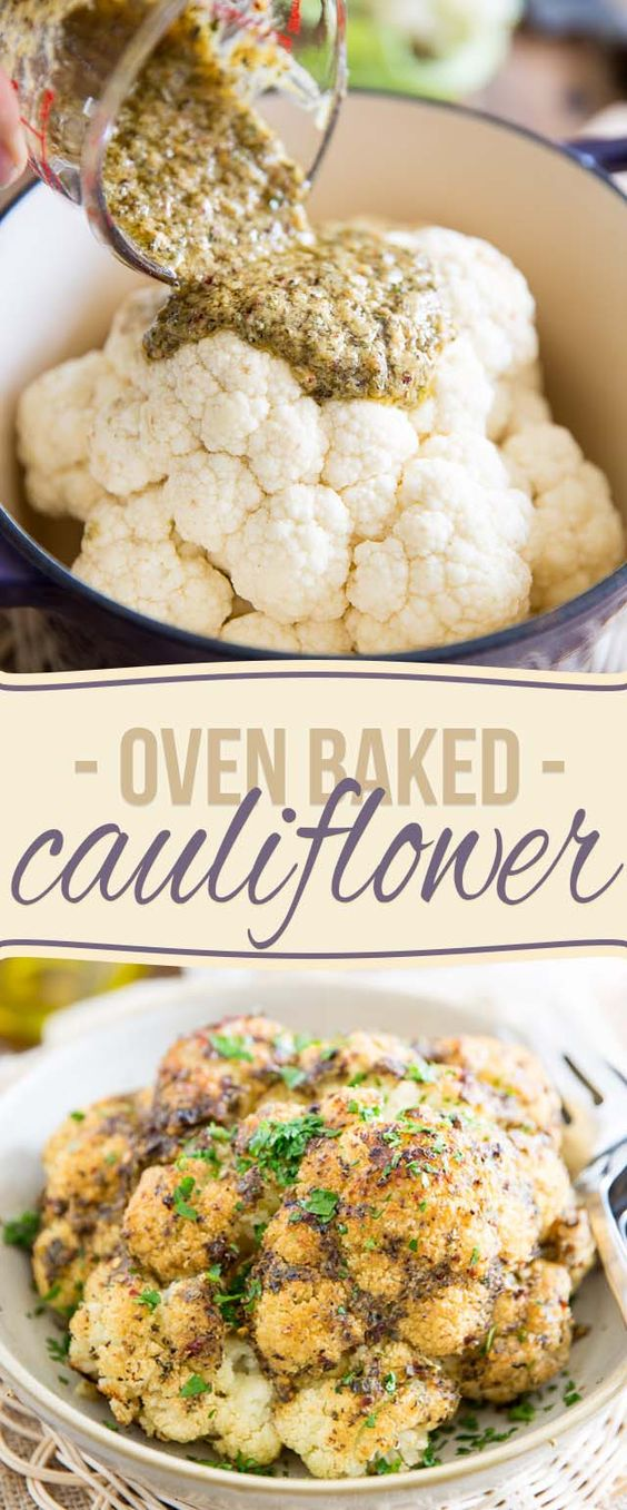 Oven Baked Whole Roasted Cauliflower.