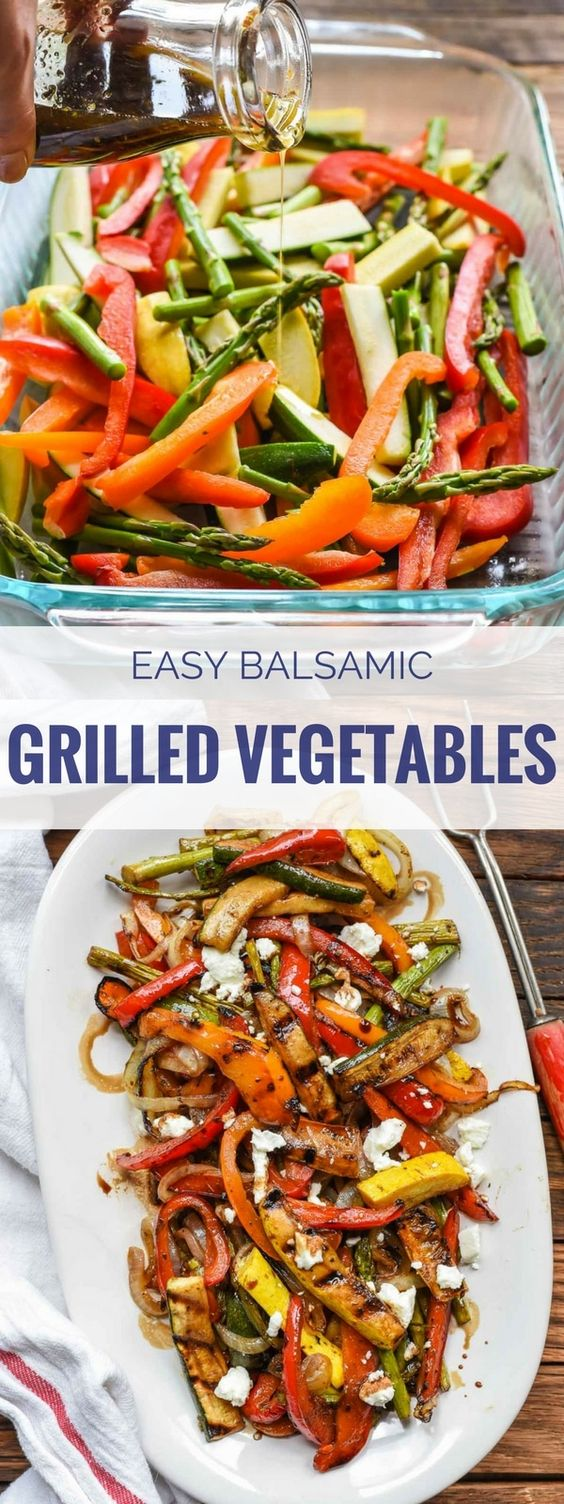 Easy Balsamic Grilled Vegetables with Goat Cheese or Feta.