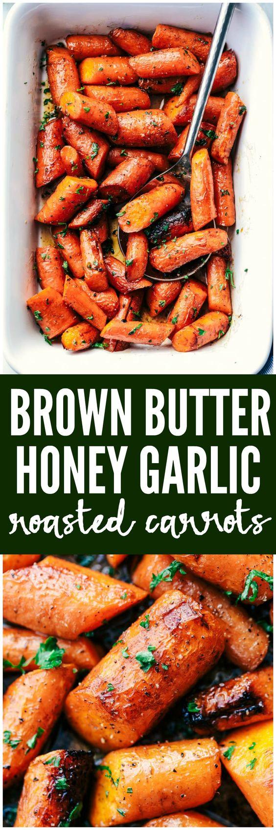 Roasted Brown Butter Honey Garlic Carrots.