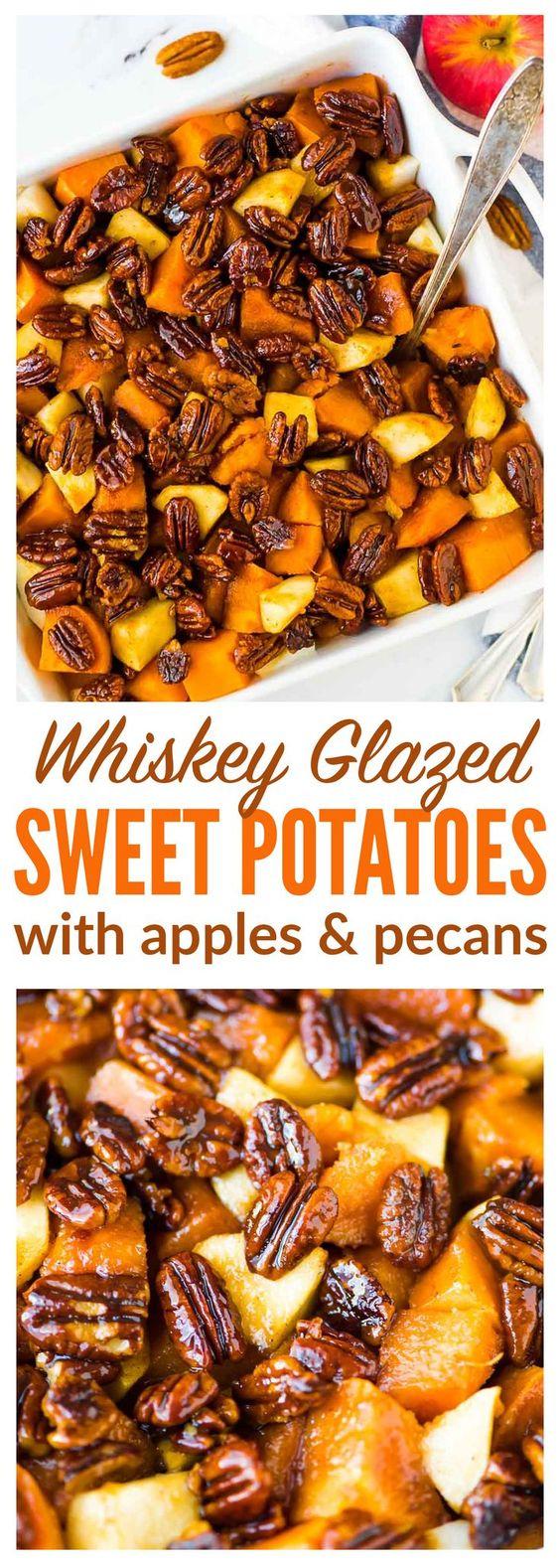 Glazed Sweet Potatoes with Whiskey Pecans.