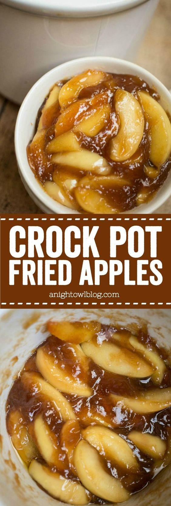 Easy Crock Pot Fried Apples.