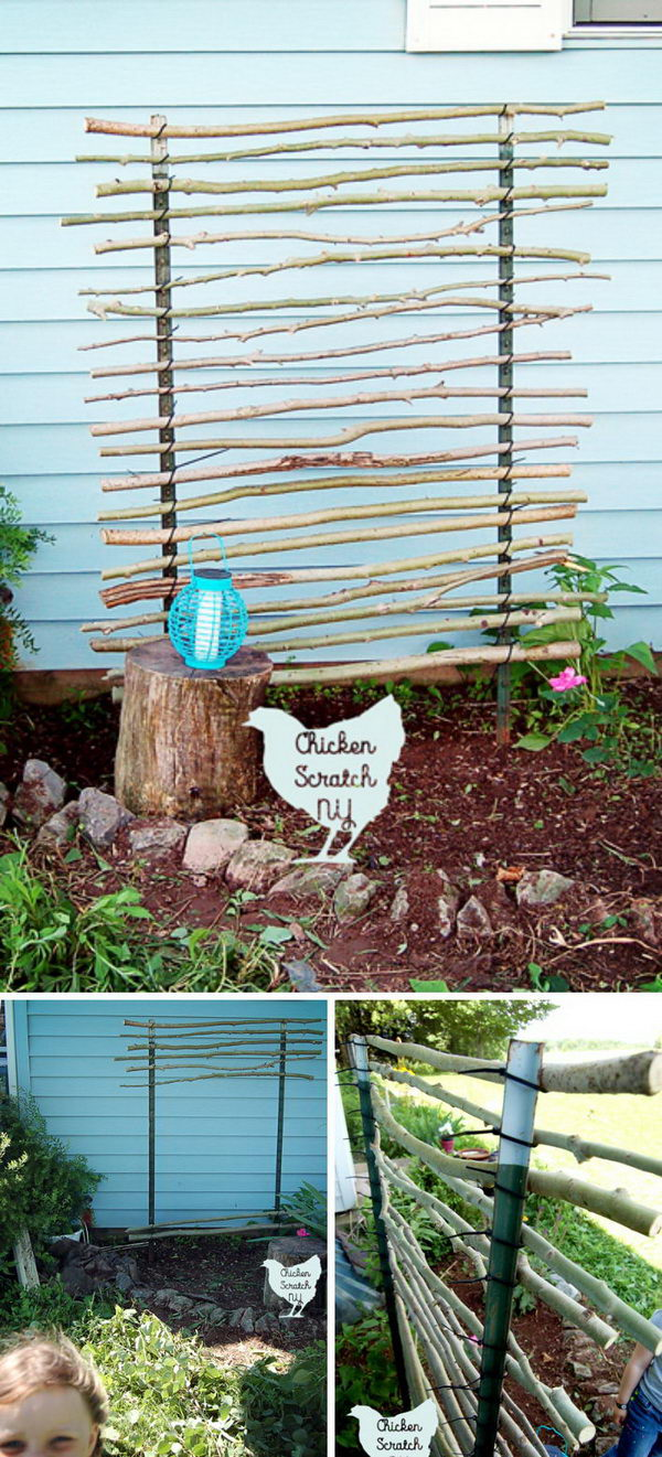 Trellis Garden Ideas 30 diy trellis ideas for your garden 2017 diy t post trellis using branches and zip ties workwithnaturefo