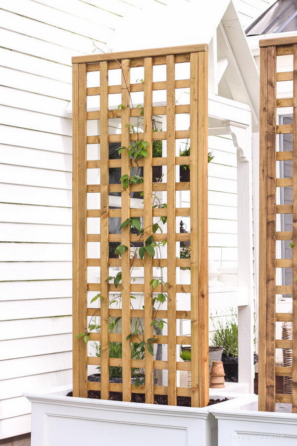30 diy trellis ideas for your garden 2017 diy planter box with screen trellis solutioingenieria Images