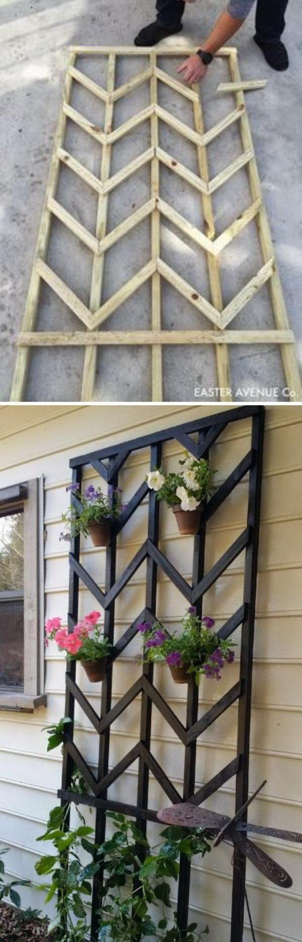 30 diy trellis ideas for your garden 2017 diy chevron lattice trellis with tutorial solutioingenieria Image collections