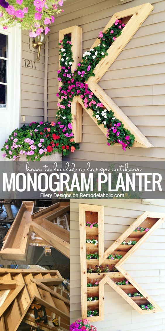 DIY Monogram Planter Box.