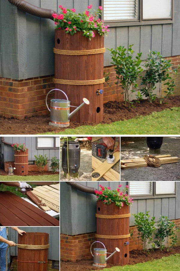 DIY Rain Barrel Planter Box.