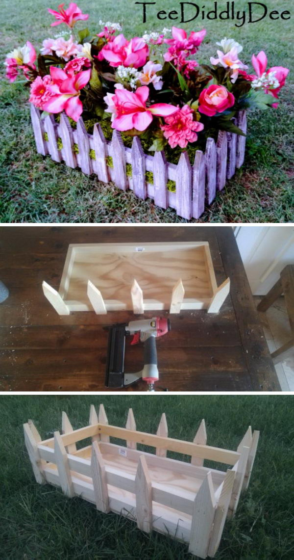 DIY Picket Fence Crate Planter.