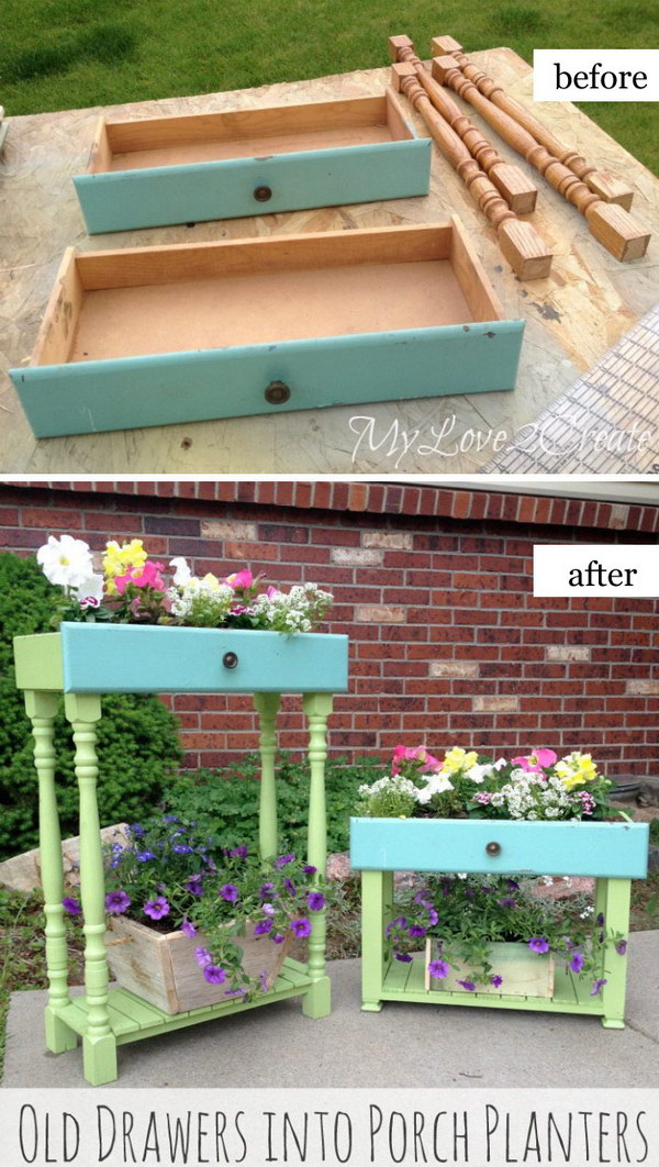 Porch Planters Made from Old Drawers.