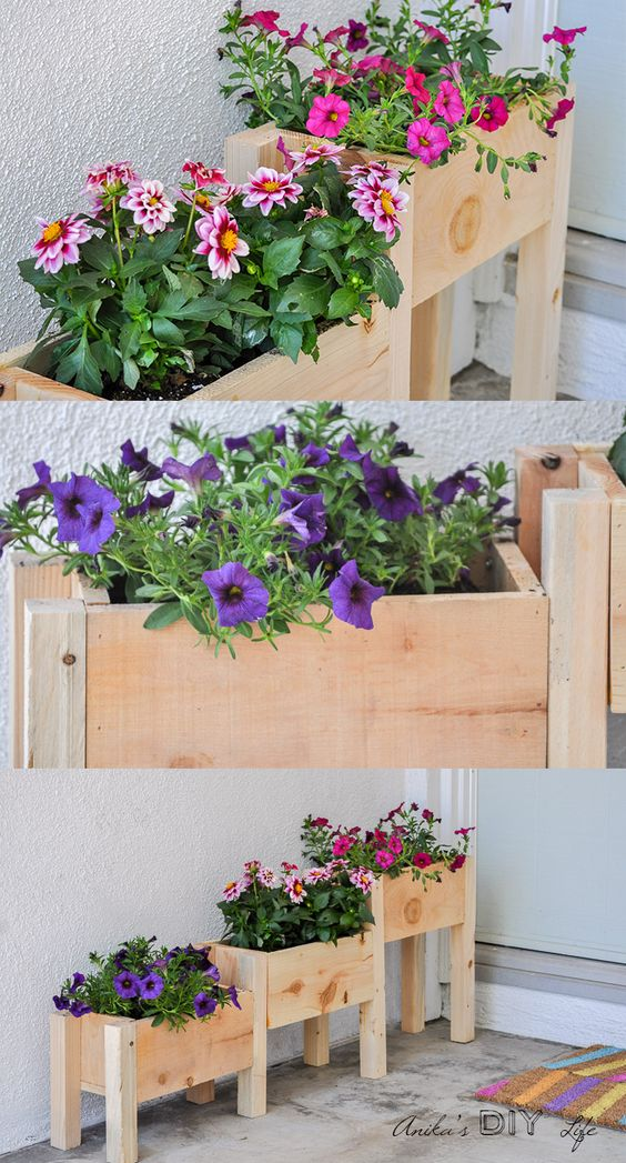 DIY Tiered Wooden Planter.