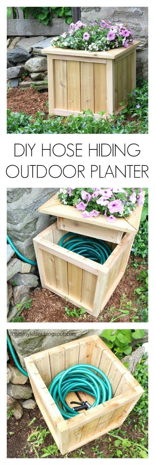 DIY Planter Box with Hidden Hose Storage.