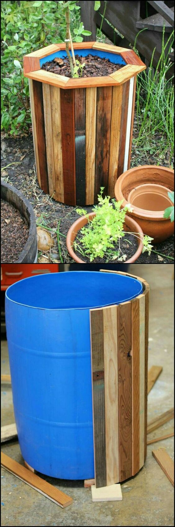 Stylish and Budget Friendly DIY Planter Box Using Plastic Barrels Covered in Wood.
