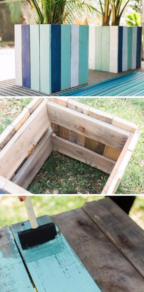 Painted Flower Pots Made From Pallets.