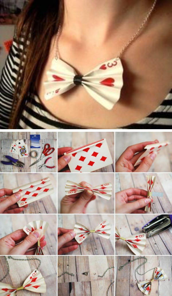 DIY Poker Card Necklace.