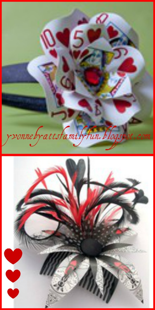 Queen of Hearts Playing Card Hair Clip.
