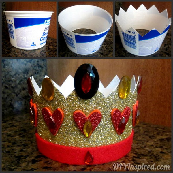DIY Queen of Heart Costume Made out of Recycled Plastic Container.