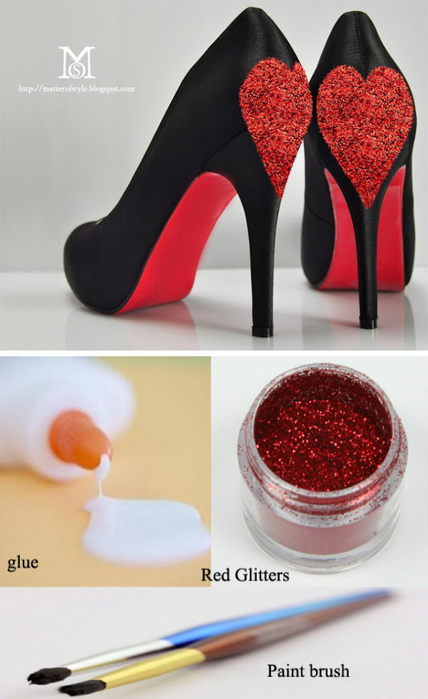 DIY Queen Of Hearts Glitter Hearts Shoes.